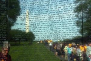 Names on the wall at Vietnam Veterans Memorial