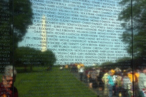 Names on the wall at Vietnam Veterans Memorial